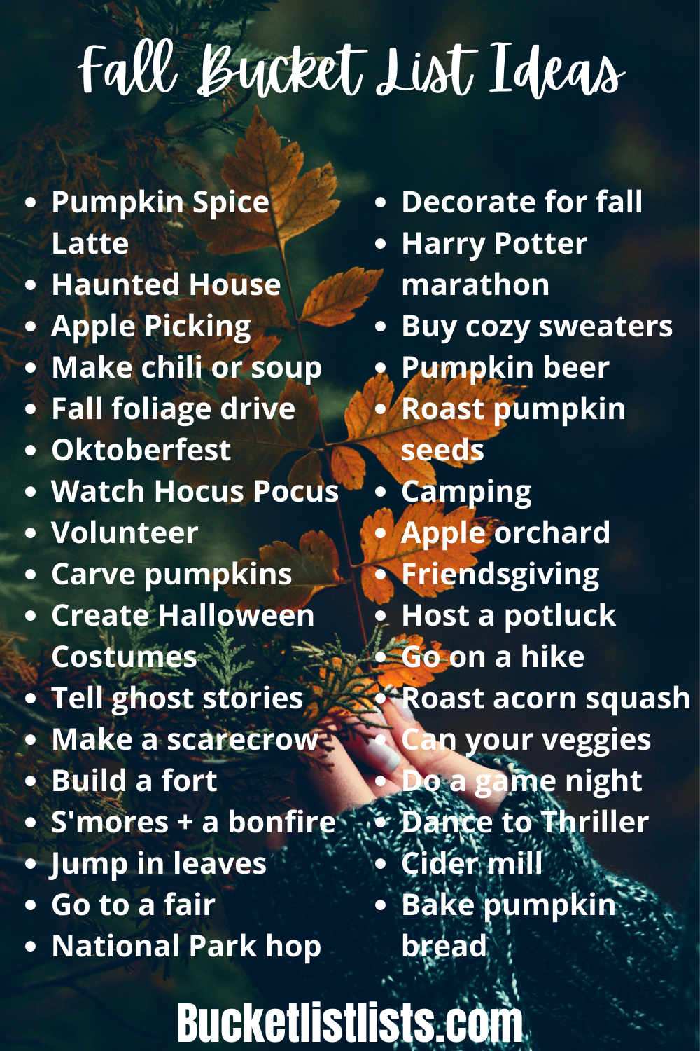 fall bucket list ideas